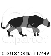 Clipart Of A Silhouetted Jaguar Royalty Free Vector Illustration