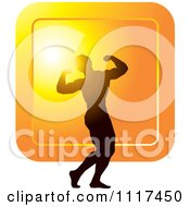 Clipart Of A Silhouetted Male Bodybuilder Competitor Posing Over An Orange Square Royalty Free Vector Illustration