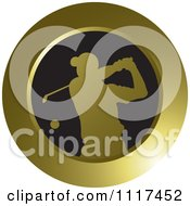 Clipart Of A Round Gold Golfer Icon Royalty Free Vector Illustration