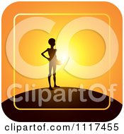 Clipart Of A Emaciated Person Begging For Food Over An Orange Sunset Royalty Free Vector Illustration