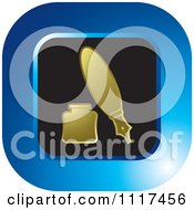 Clipart Of A Round Gold Blue And Black Fountain Pen And Ink Well Icon Royalty Free Vector Illustration by Lal Perera