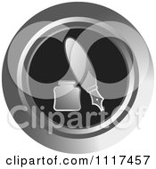 Clipart Of A Round Silver And Black Fountain Pen And Ink Well Icon Royalty Free Vector Illustration by Lal Perera