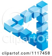 Clipart Of A 3d Blue Cubic Pyramid Optical Illusion Royalty Free Vector Illustration