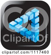Clipart Of A 3d Blue Cubic Pyramid Optical Illusion Icon Royalty Free Vector Illustration