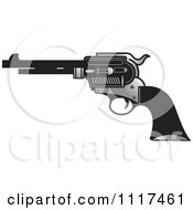 Clipart Of A Silver And Black Pistol Firearm Gun Royalty Free Vector Illustration