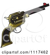 Clipart Of A Gold And Black Pistol Firearm Gun Royalty Free Vector Illustration