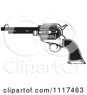 Clipart Of A Black And White Pistol Firearm Gun Royalty Free Vector Illustration