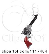 Clipart Of A Smoking Pistol Firearm Gun Royalty Free Vector Illustration