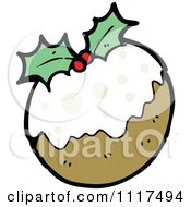 Cartoon Of Xmas Plum Pudding 1 Royalty Free Vector Clipart by lineartestpilot