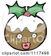 Cartoon Of Xmas Plum Pudding Character 2 Royalty Free Vector Clipart by lineartestpilot