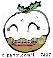 Cartoon Of Xmas Plum Pudding Character 3 Royalty Free Vector Clipart by lineartestpilot
