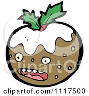 Cartoon Of Xmas Plum Pudding Character 6 Royalty Free Vector Clipart by lineartestpilot
