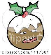 Cartoon Of Xmas Plum Pudding Character 7 Royalty Free Vector Clipart by lineartestpilot