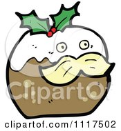 Cartoon Of Xmas Plum Pudding Character 8 Royalty Free Vector Clipart by lineartestpilot