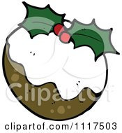 Cartoon Of Xmas Plum Pudding 2 Royalty Free Vector Clipart by lineartestpilot