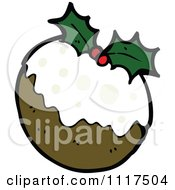 Cartoon Of Xmas Plum Pudding 3 Royalty Free Vector Clipart by lineartestpilot