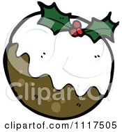 Cartoon Of Xmas Plum Pudding 4 Royalty Free Vector Clipart by lineartestpilot