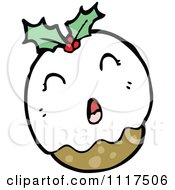 Cartoon Of Xmas Plum Pudding Character 9 Royalty Free Vector Clipart by lineartestpilot