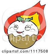 Cartoon Of Xmas Plum Pudding Character 11 Royalty Free Vector Clipart