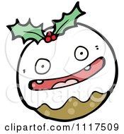 Cartoon Of Xmas Plum Pudding Character 12 Royalty Free Vector Clipart