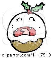 Cartoon Of Xmas Plum Pudding Character 13 Royalty Free Vector Clipart