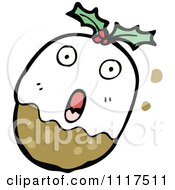 Cartoon Of Xmas Plum Pudding Character 14 Royalty Free Vector Clipart