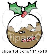 Cartoon Of Xmas Plum Pudding Character 19 Royalty Free Vector Clipart