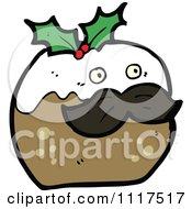 Cartoon Of Xmas Plum Pudding Character 20 Royalty Free Vector Clipart