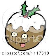 Cartoon Of Xmas Plum Pudding Character 21 Royalty Free Vector Clipart