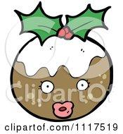 Cartoon Of Xmas Plum Pudding Character 22 Royalty Free Vector Clipart