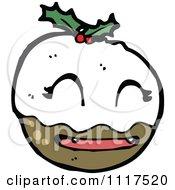 Cartoon Of Xmas Plum Pudding Character 23 Royalty Free Vector Clipart