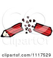 School Cartoon Of A Red Pencil Breaking In Half 1 Royalty Free Vector Clipart