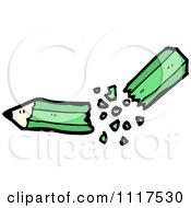 School Cartoon Of A Green Pencil Splitting In Half Royalty Free Vector Clipart