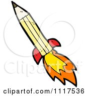 School Cartoon Of A Yellow Pencil Rocket 1 Royalty Free Vector Clipart