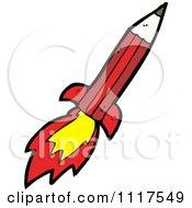 School Cartoon Of A Red Pencil Rocket 1 Royalty Free Vector Clipart