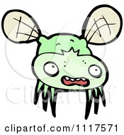 Cartoon Of A Green House Fly 1 Royalty Free Vector Clipart