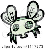 Cartoon Of A Green House Fly 3 Royalty Free Vector Clipart by lineartestpilot