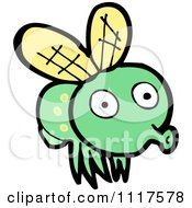 Cartoon Of A Green House Fly 5 Royalty Free Vector Clipart