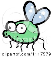 Cartoon Of A Green House Fly 6 Royalty Free Vector Clipart