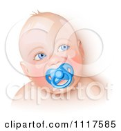 Blue Eyed Caucasian Baby With A Pacifier
