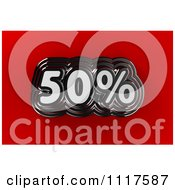 Clipart Of A 3d Chrome 50 Percent Discount Sales Notice On Red Royalty Free CGI Illustration