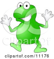 A Happy Green Frog Wearing Gloves Doing Jazz Hands While Dancing by AtStockIllustration
