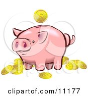 Pink Piggy Bank Surrounded By Golden Coins Clipart Illustration