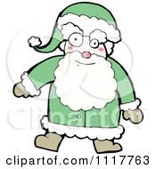 Cartoon Green Xmas Santa Claus 1 Royalty Free Vector Clipart by lineartestpilot