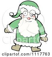 Cartoon Green Xmas Santa Claus 1 Royalty Free Vector Clipart by lineartestpilot