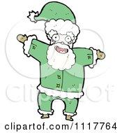 Cartoon Green Xmas Santa Claus 2 Royalty Free Vector Clipart by lineartestpilot