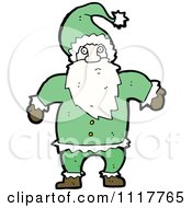 Cartoon Green Xmas Santa Claus 3 Royalty Free Vector Clipart by lineartestpilot