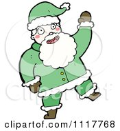 Cartoon Green Xmas Santa Claus 6 Royalty Free Vector Clipart by lineartestpilot