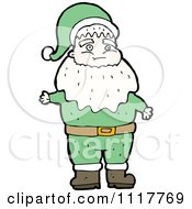 Cartoon Green Xmas Santa Claus 7 Royalty Free Vector Clipart by lineartestpilot
