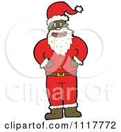 Cartoon Happy Black Xmas Santa Claus Royalty Free Vector Clipart by lineartestpilot